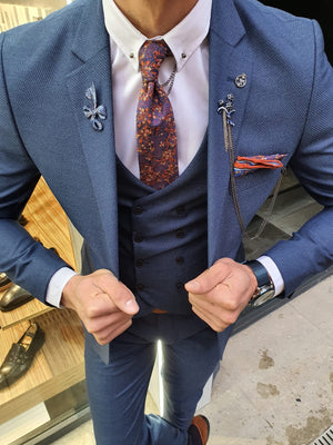 Utica Indigo Slim Fit Patterned Suit