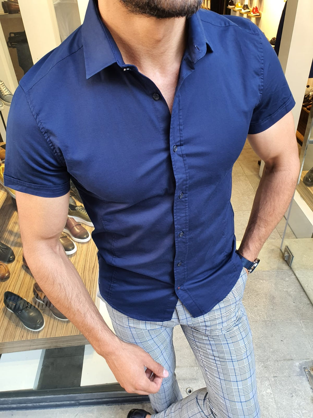 Sparks Navy Blue Slim Fit Short Sleeve Shirt