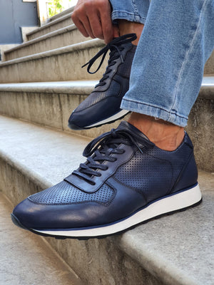 Laughlin Navy Mid-Top Sneakers