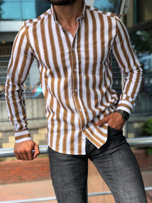Beige Striped Slim Fit Shirt