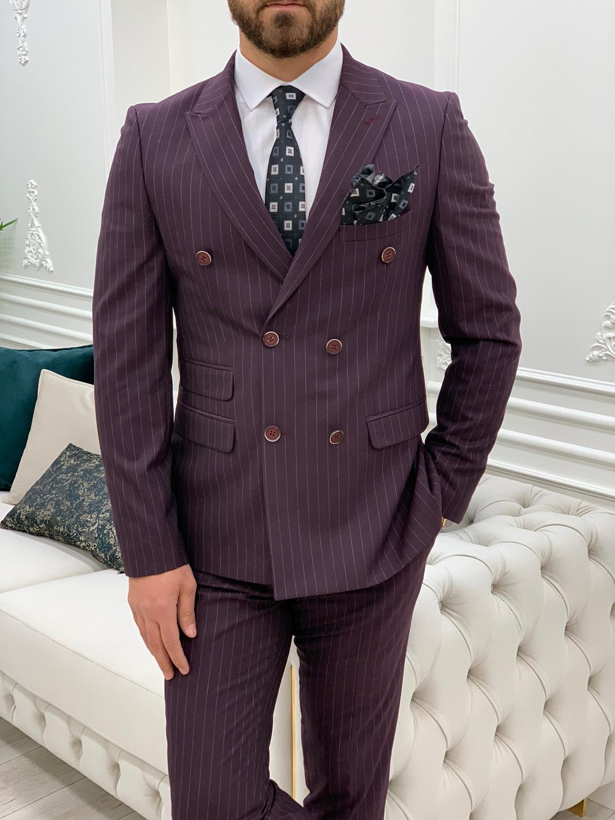 Milano Burgundy Slim Fit Double Breasted Pinstripe Suit
