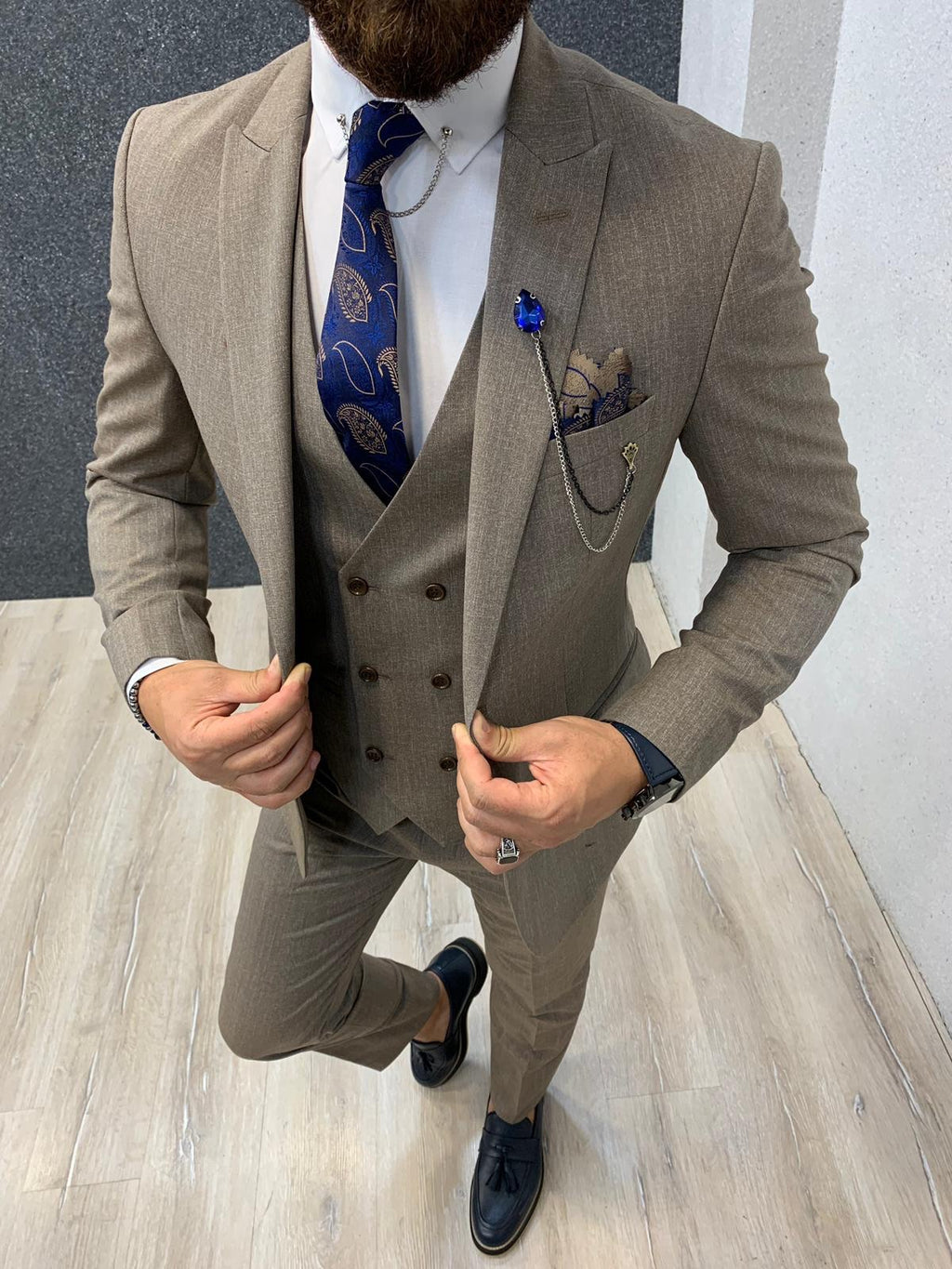 Marc Beige Slim Fit Wool Suit