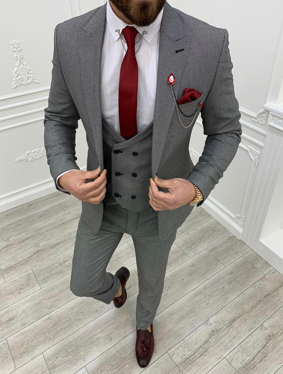 Austin Gray Slim Fit Wool Suit