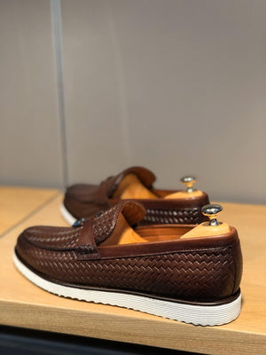 Odessa Brown Woven Leather Tassel Loafer