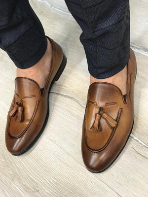 Tassel Leather Brown Loafers