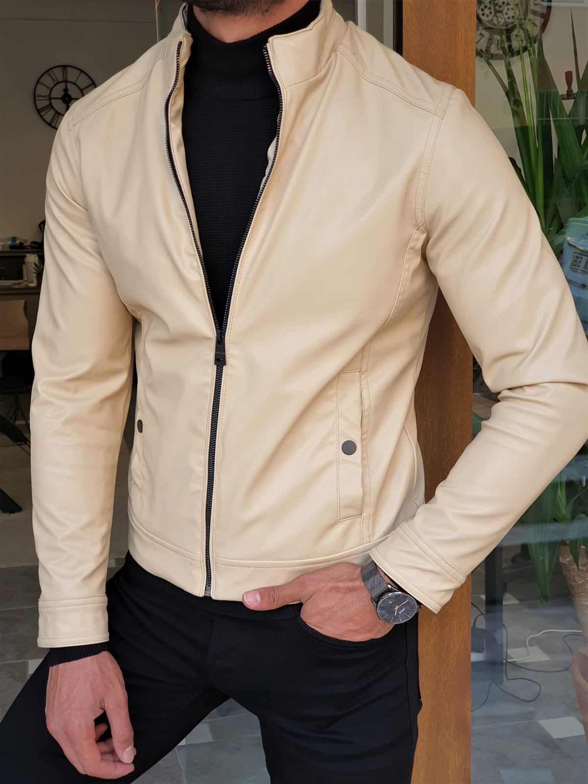 Stefano Beige Slim Fit Leather Coat