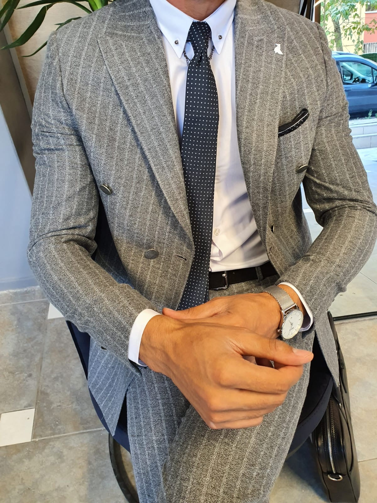 Wellington Gray Pinstripe Double Breasted Suit