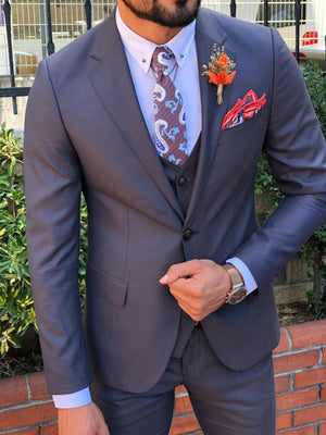 Smith Blue & Camel Patterned Slim-Fit Suit