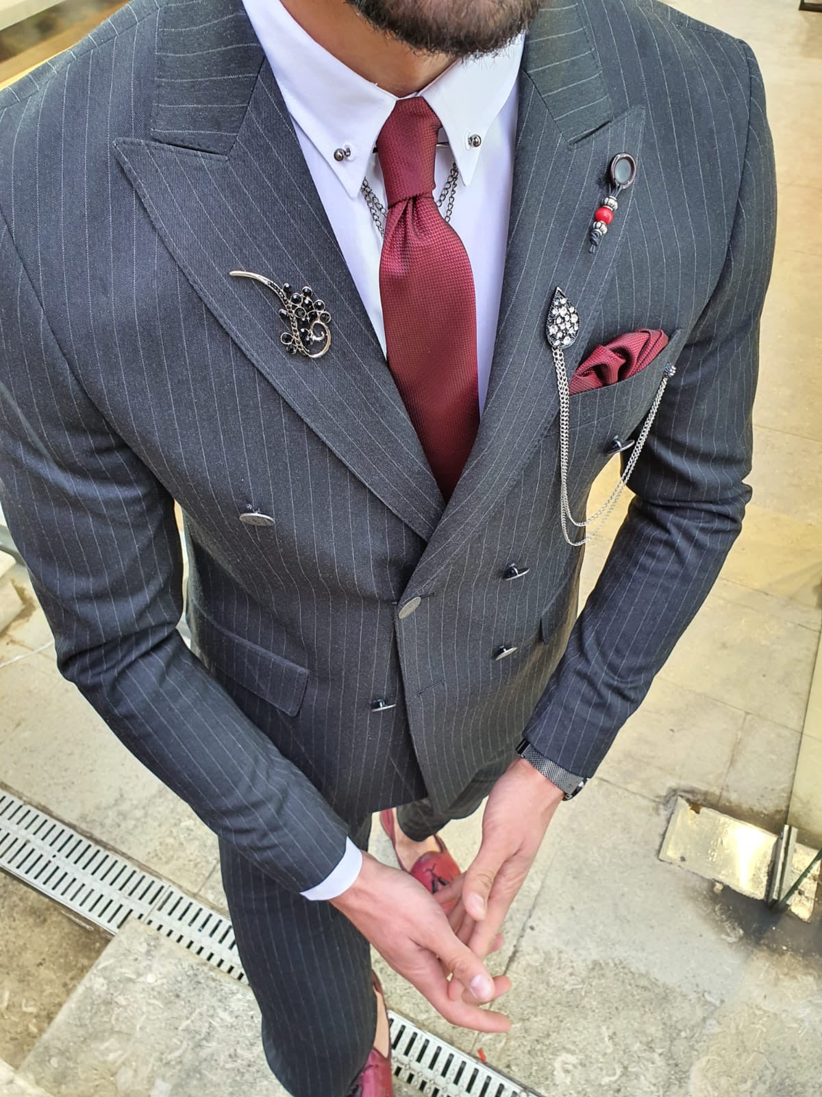 Olympia Black Slim Fit Double Breasted Pinstripe Suit