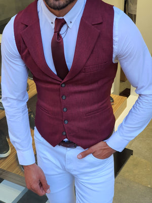 Bellingham Burgundy Slim Fit Vest