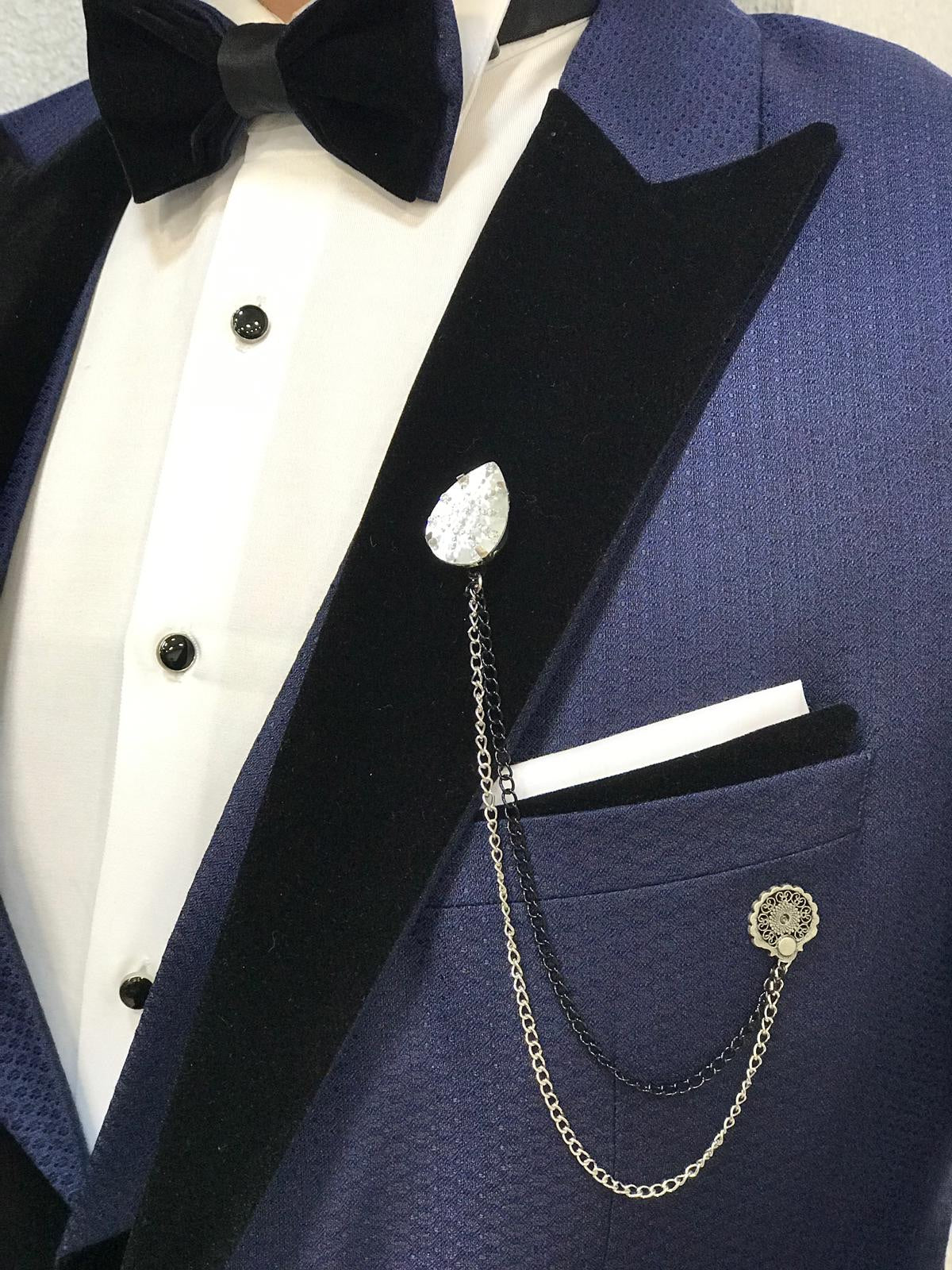Acacia Navy Blue Patterned Tuxedo
