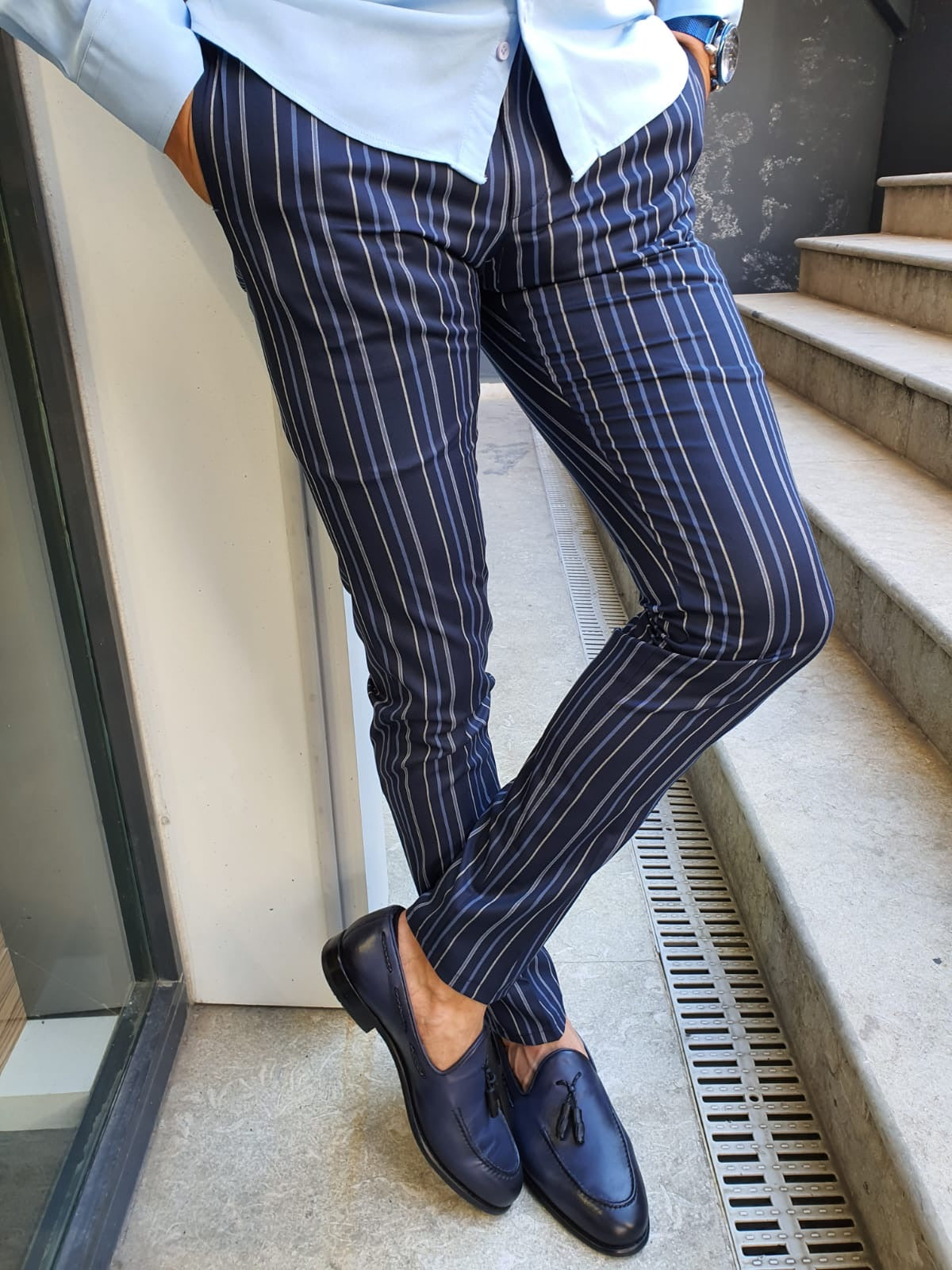 Sparks Navy Blue Slim Fit Striped Pants