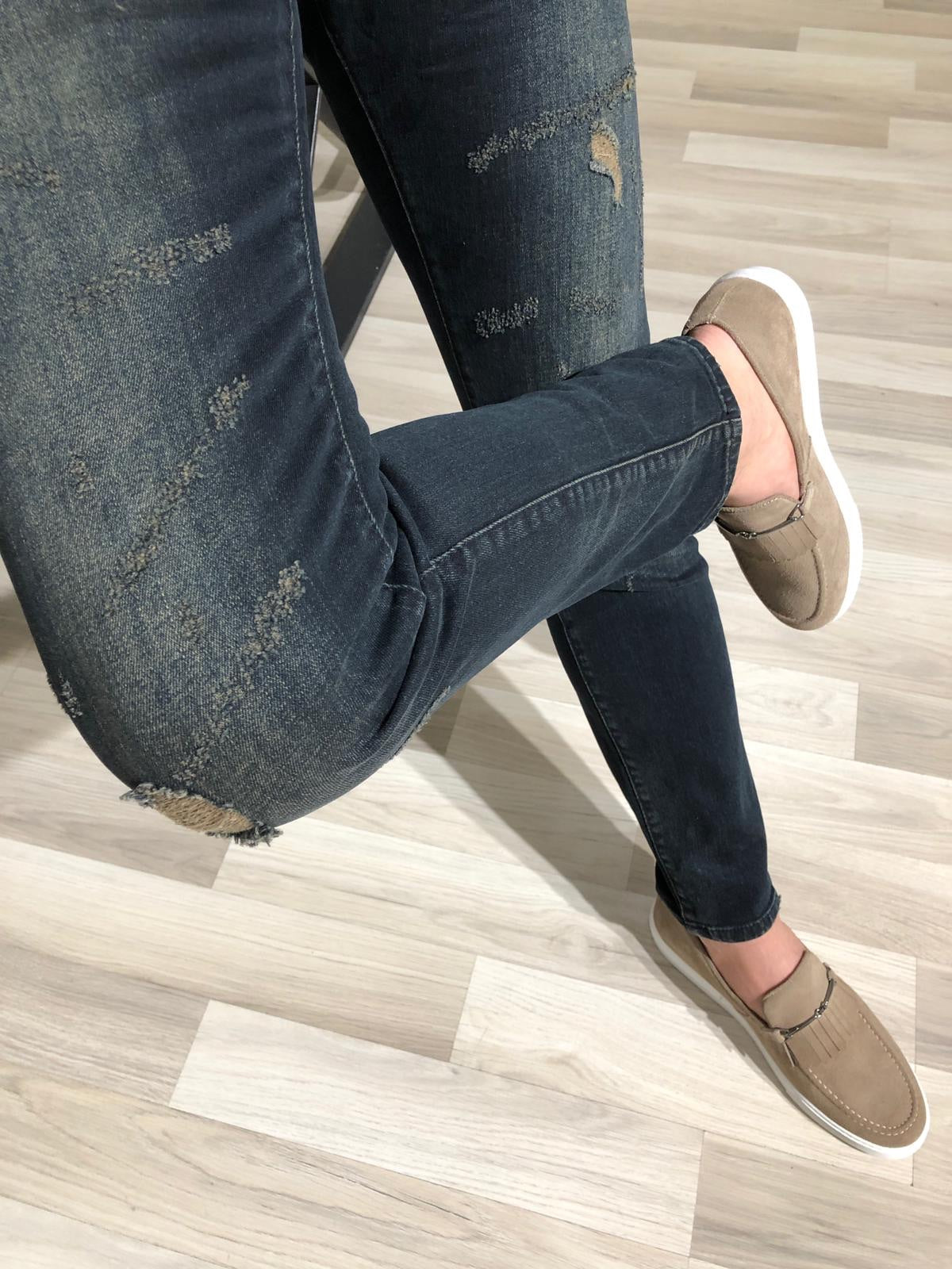 Heritage Navy Ripped Slim Jeans