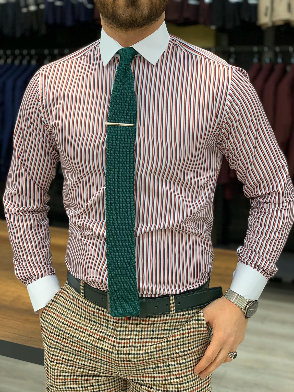 Jake Claret Red Striped Slim Fit Shirt