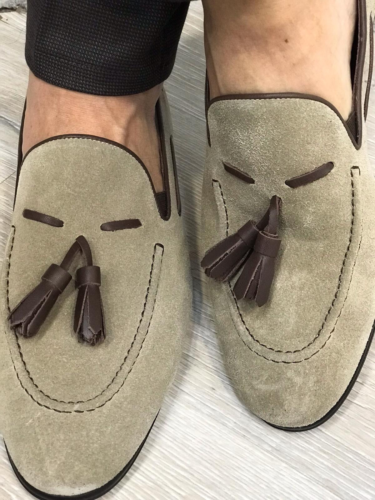 Tassel Suede Leather Cream Loafers