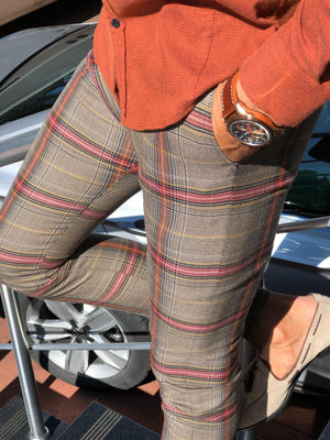 Advert Beige Slim Fit Plaid Pants