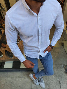 Madison White Slim Fit Button Collar Shirt