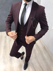 Bernard Claret Red Slim Suit