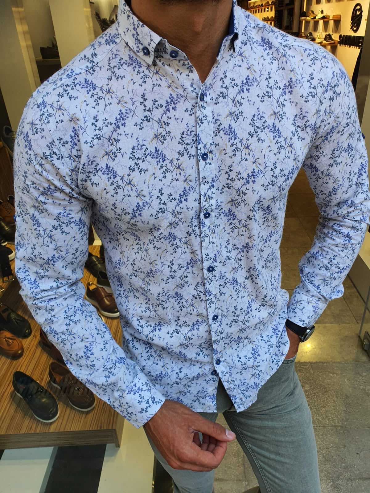 Racine White Slim Fit Floral Shirt