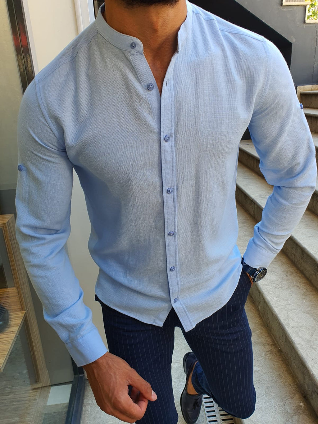 Madison Sky Blue Slim Fit Cotton Shirt