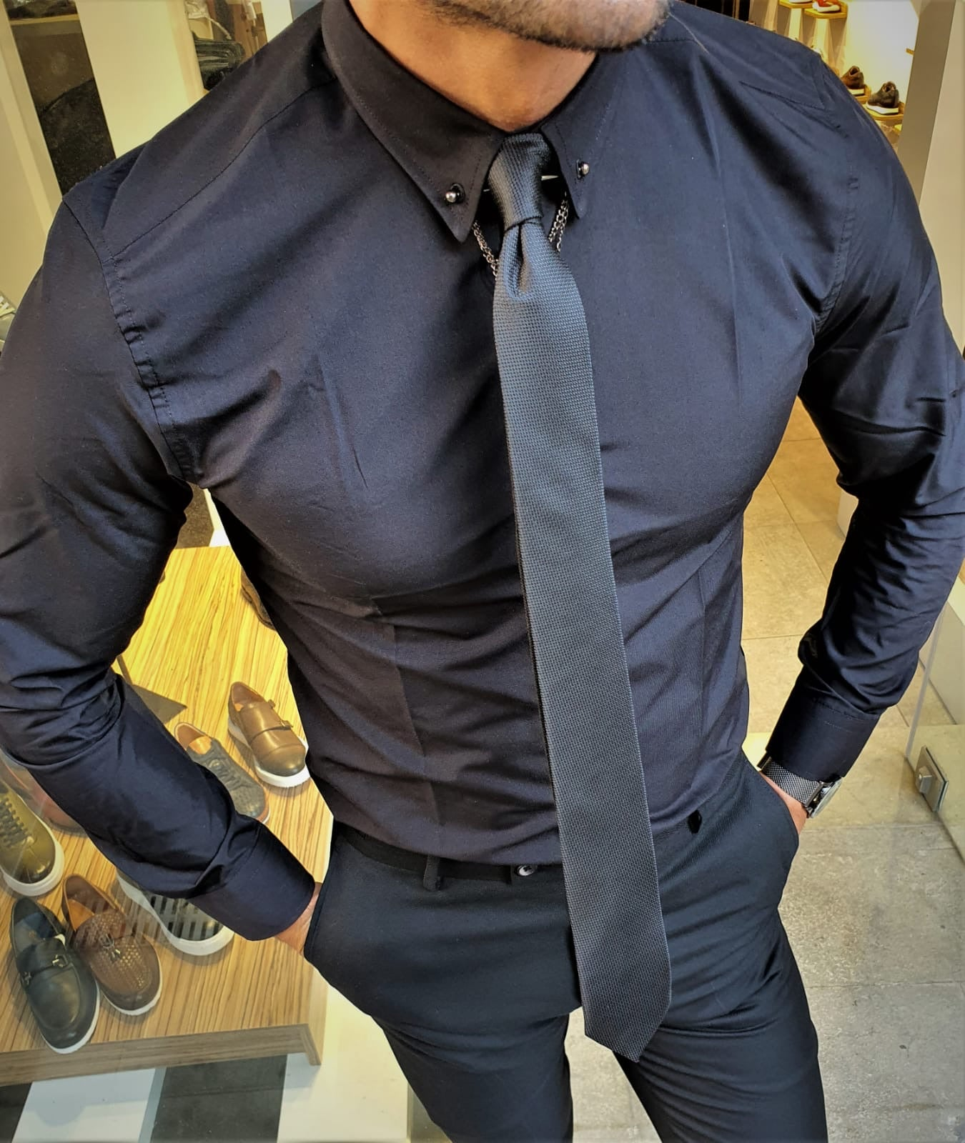 Stefano Black Slim Fit Shirt