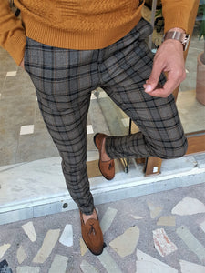 Henderson Camel Slim Fit Plaid Pants