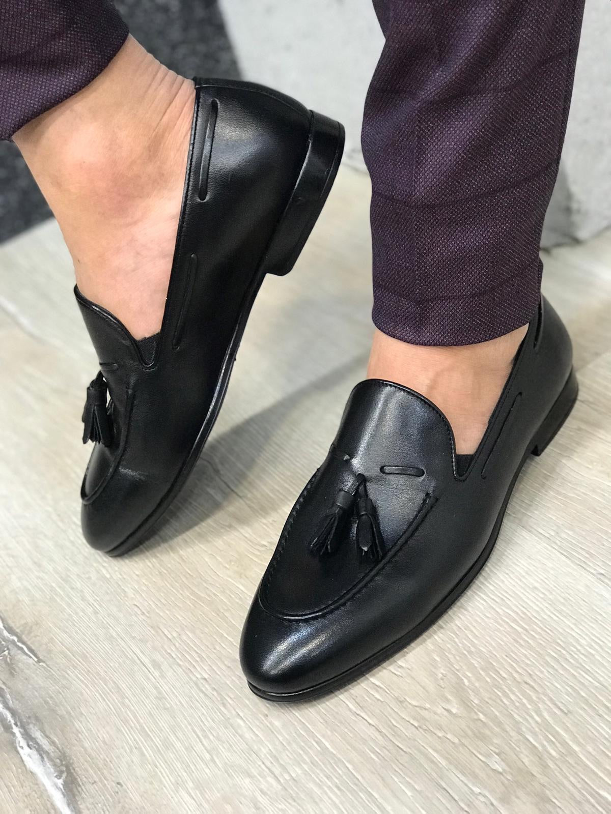 Tassel Leather Black Loafers