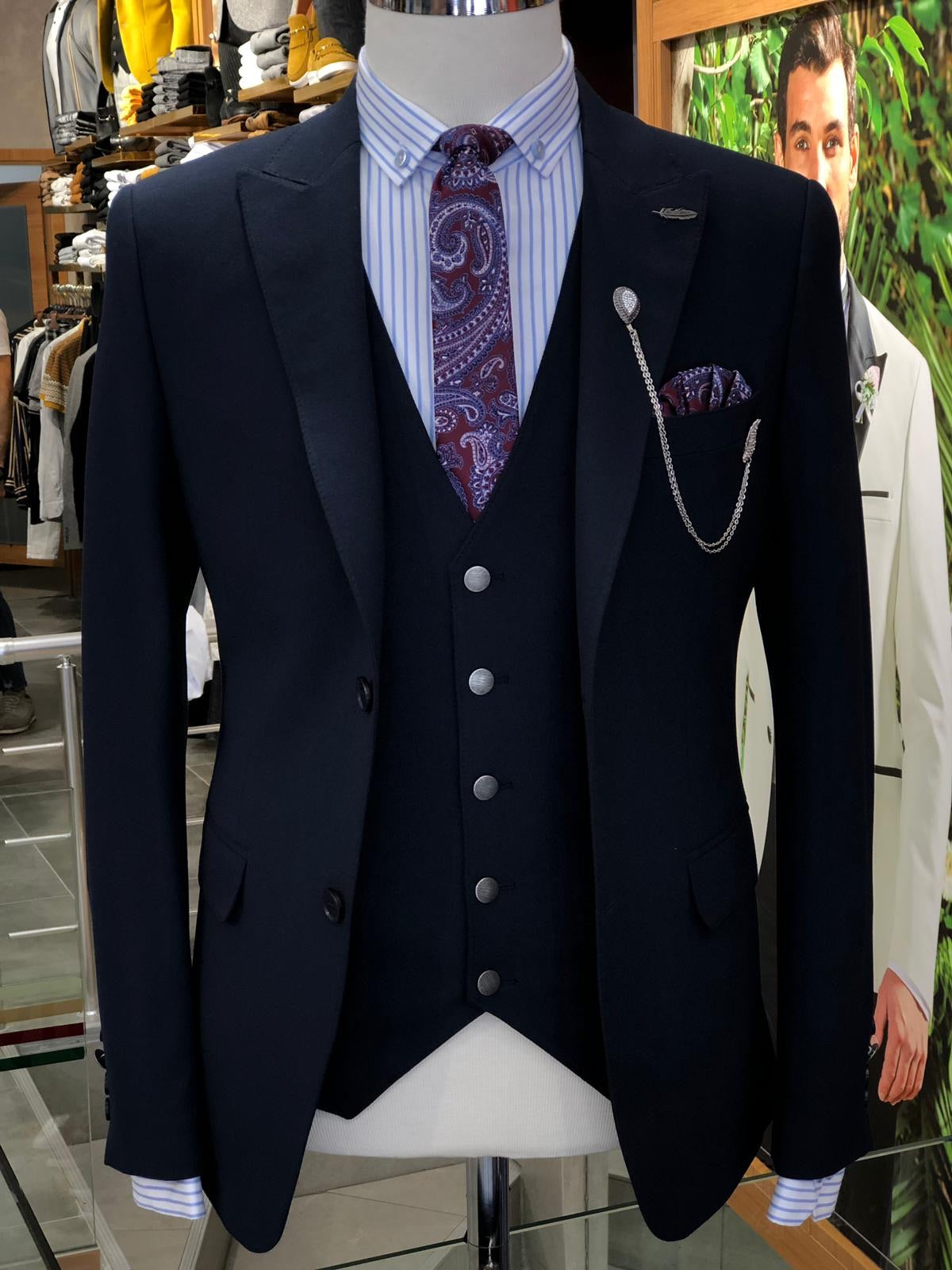 Marc All Navy Blue Slim Suit