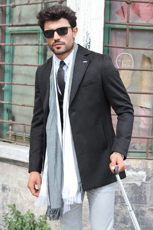 Black Slim-Fit Wool Coat