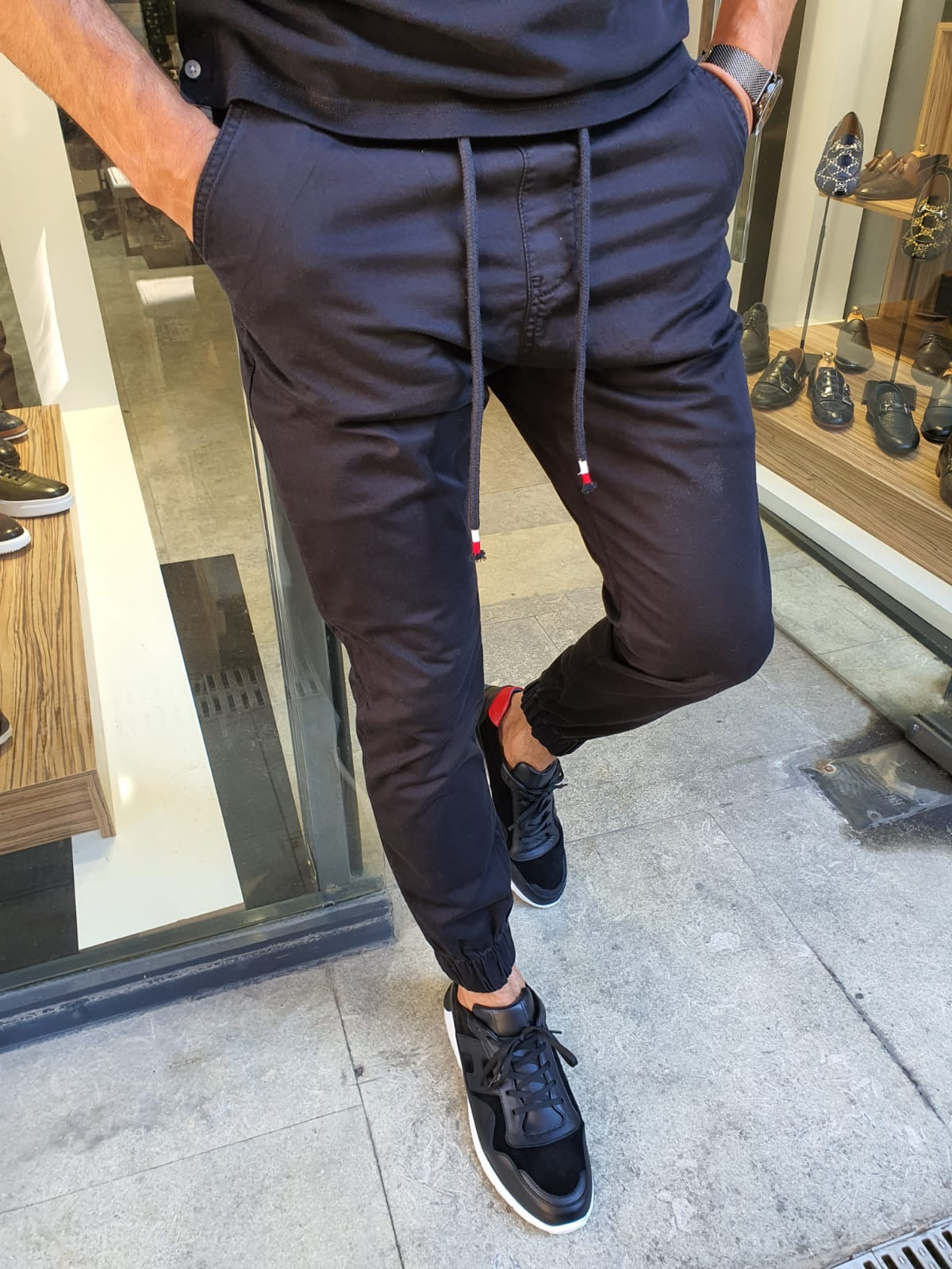 Bern Black Slim Fit Laces Jeans