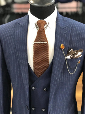 London Navy Blue Slim Fit Pinstripe Suit