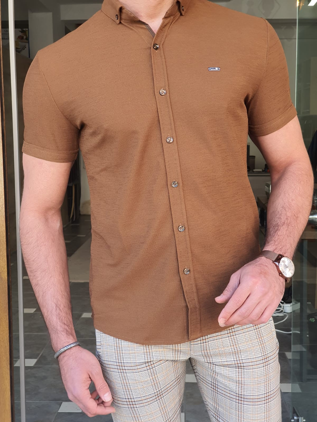 Napoli Camel Slim Fit Short Sleeve Shirt