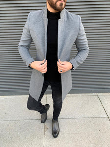 Kenzie Gray Slim Fit Wool Long Coat
