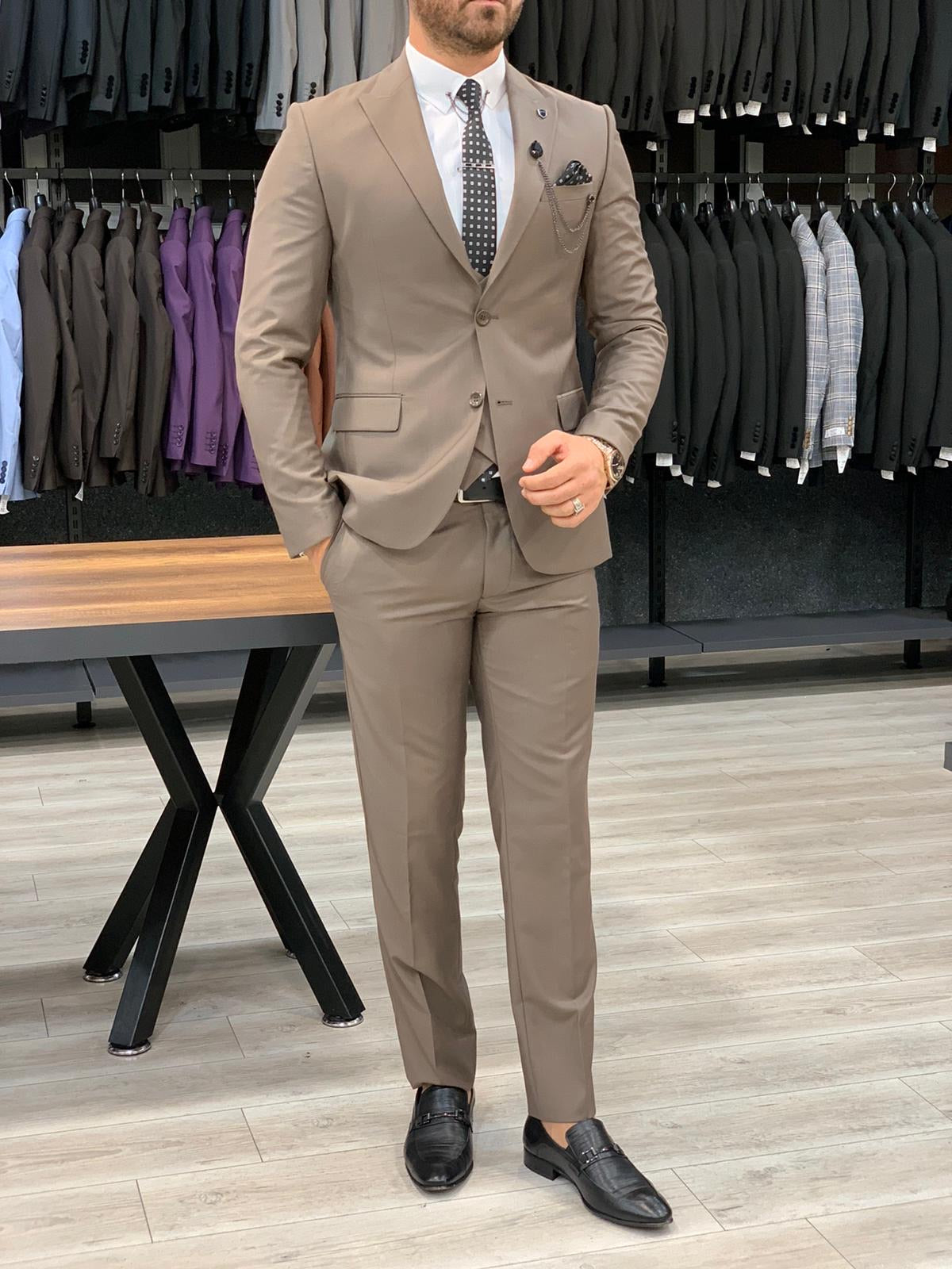 Eros Brown Slim Fit Wool Suit