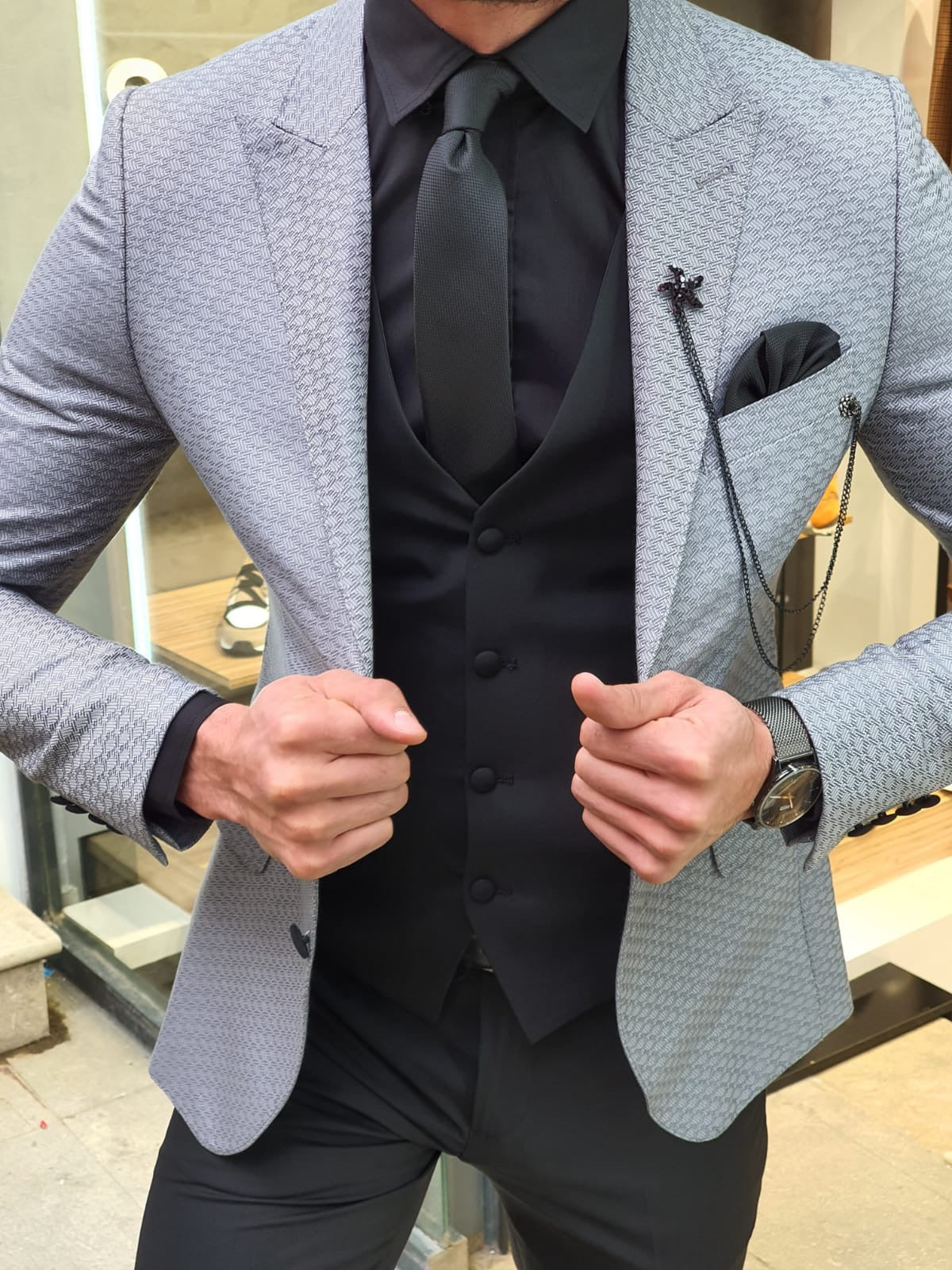 VillaNova Gray Slim Fit Patterned Suit