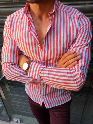 Stefano Claret Red Striped Shirt