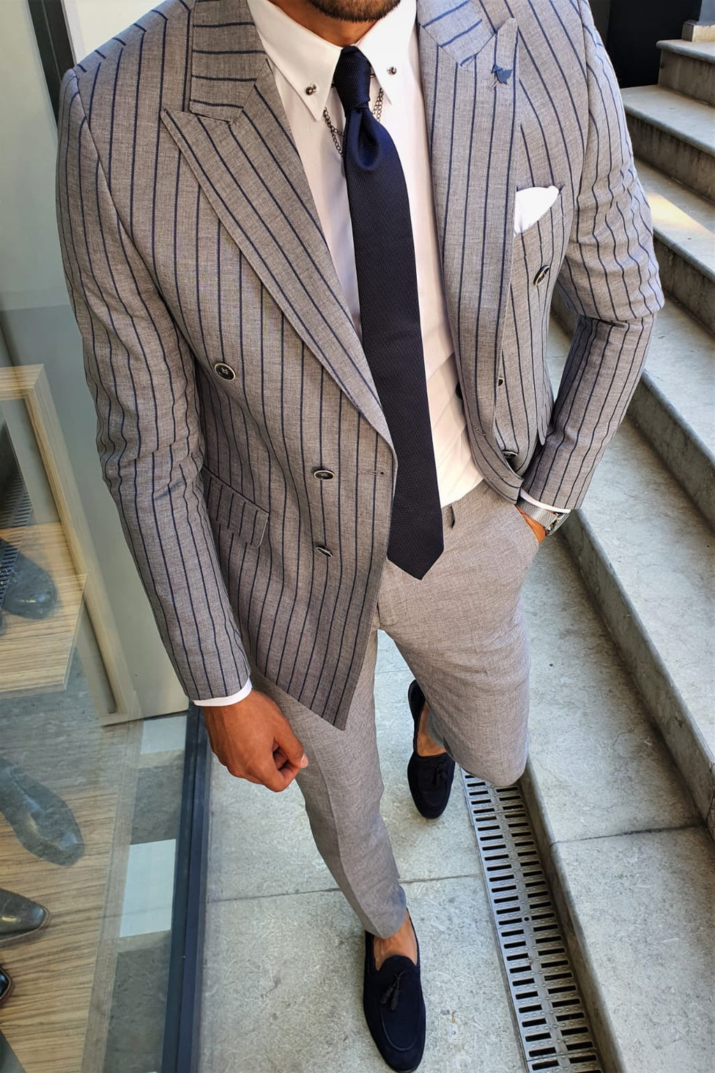 Richard Gray Striped Double Breasted Suit