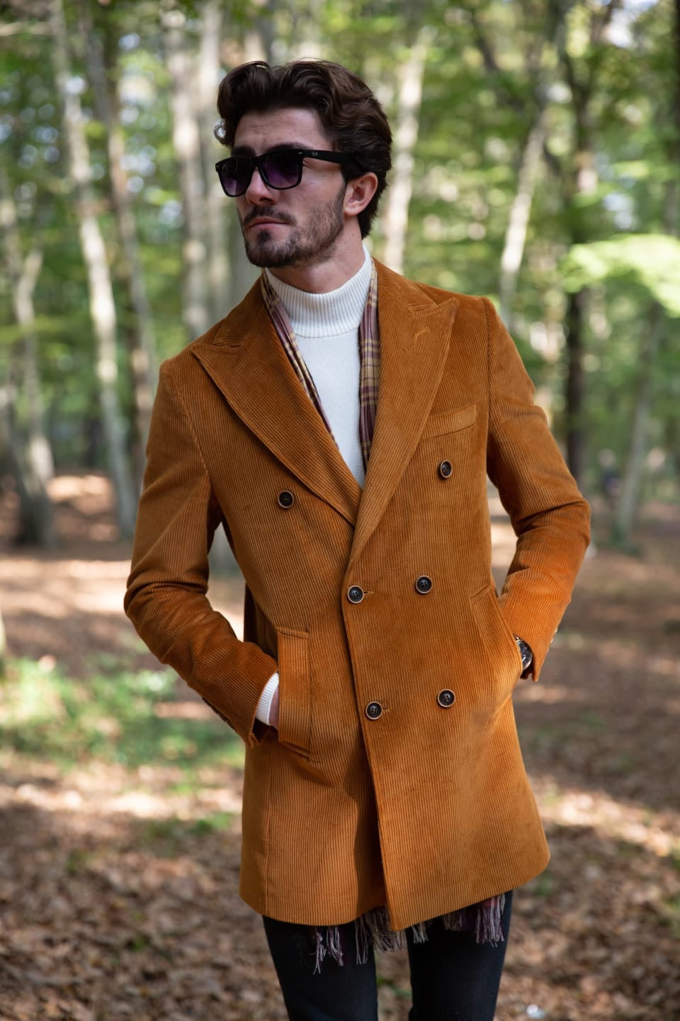Twink Brown Slim Fit Double Breasted Long Coat