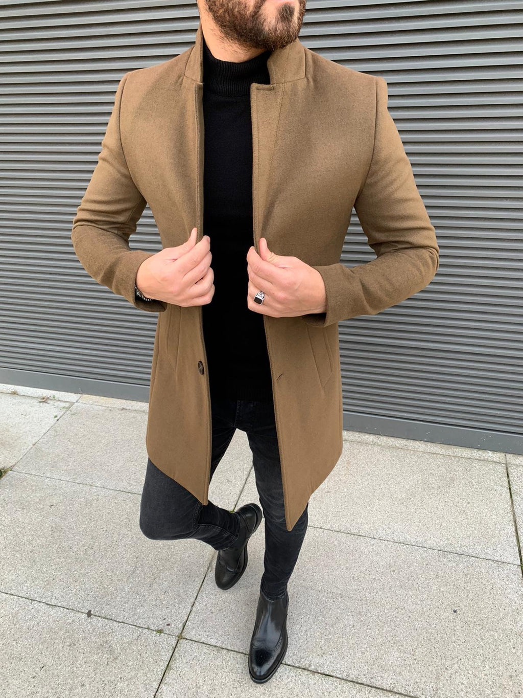 Kenzie Camel Slim Fit Wool Long Coat