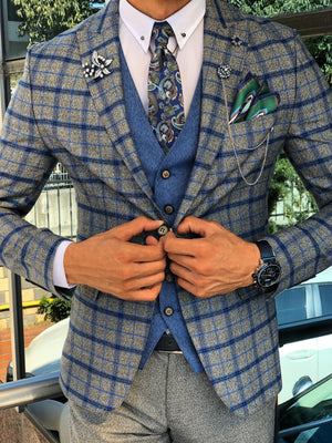 Paul Sax Plaid Slim Fit Suit