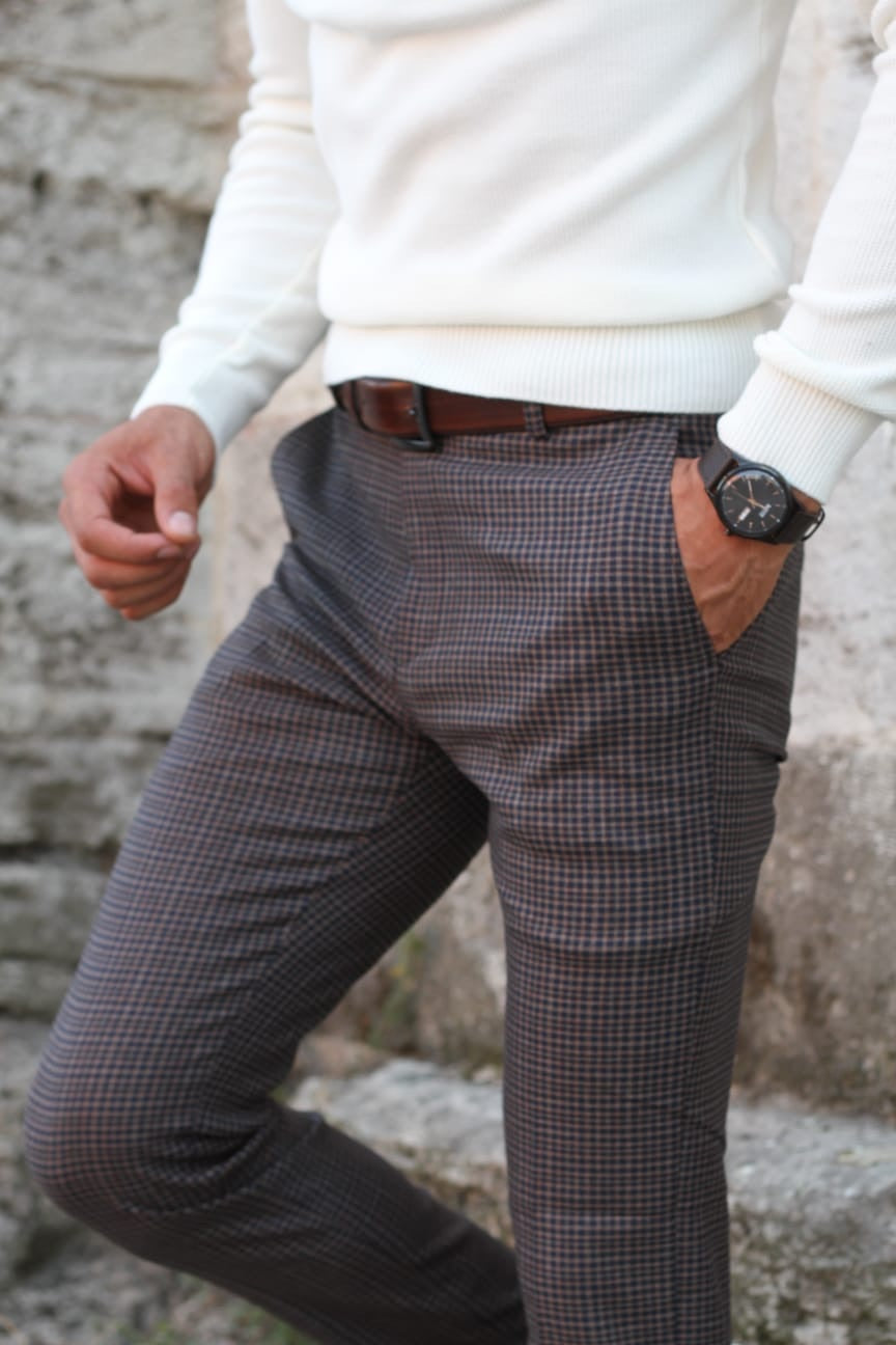 Lynn Camel Slim Fit Plaid Pants