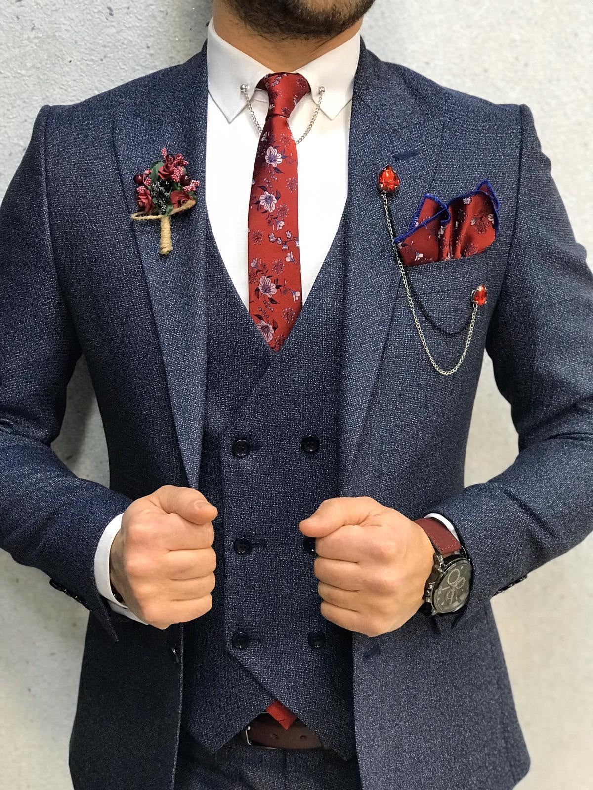 Kenzie Navy Blue Slim Fit Wool Suit