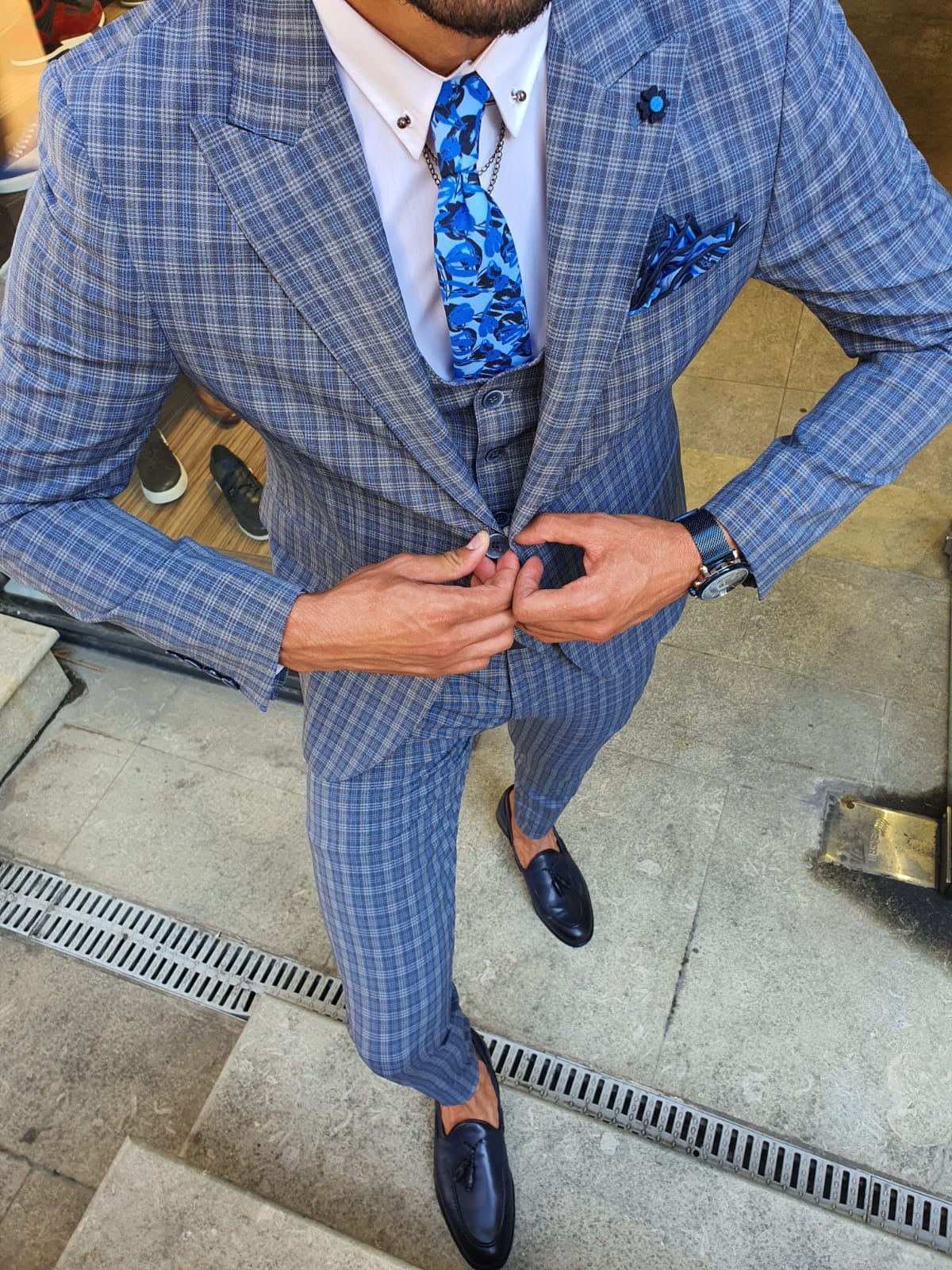 New Bern Navy Blue Slim Fit Check Suit
