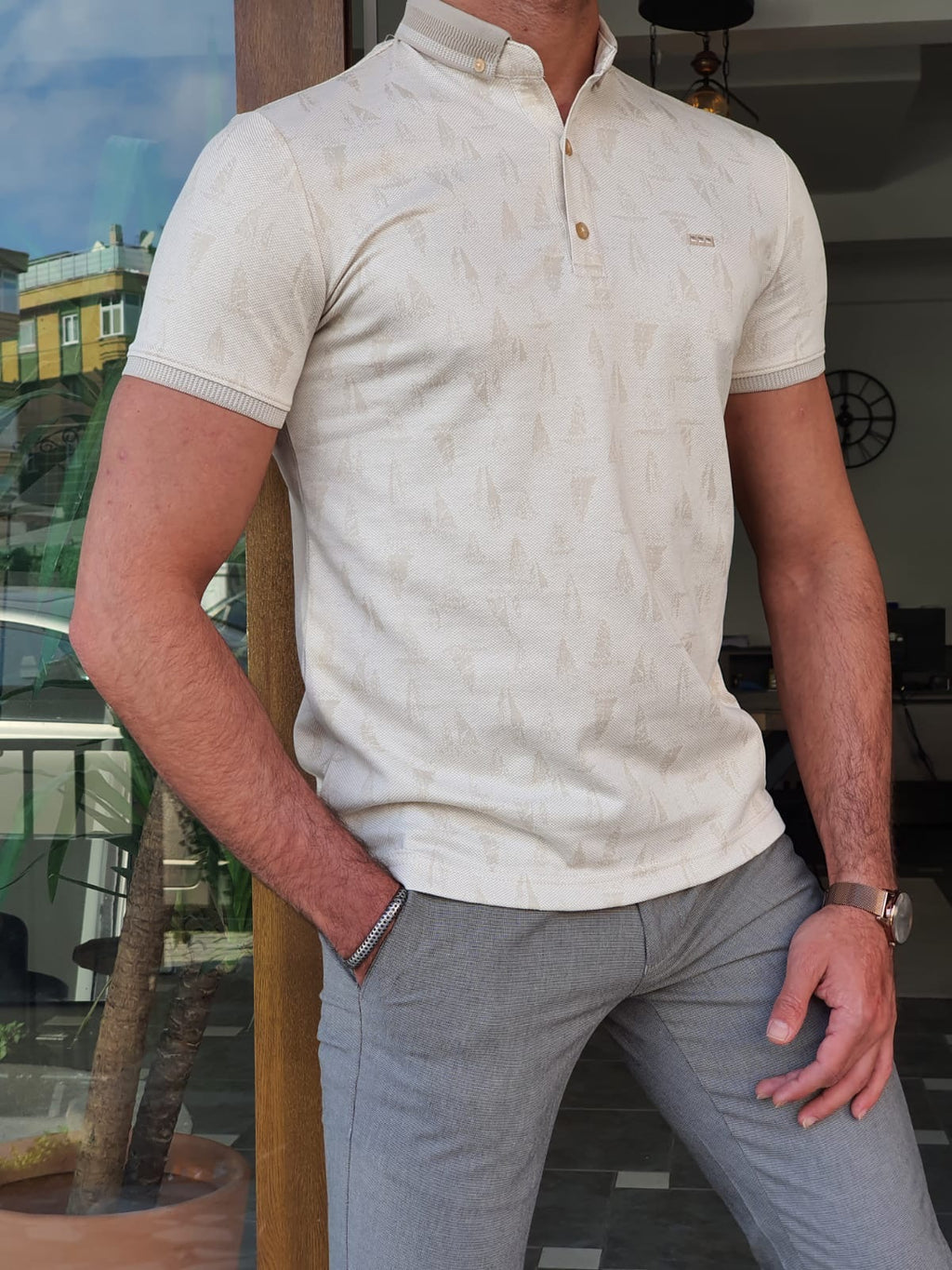 Aron Beige Slim Fit Polo T-Shirt