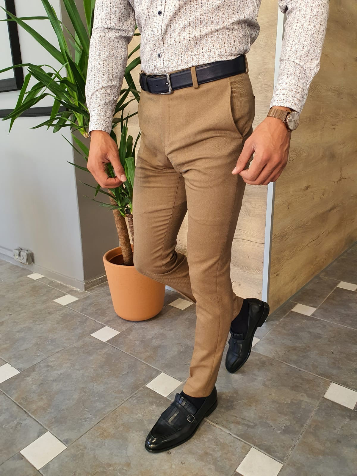 Torino Brown Slim Fit Pants