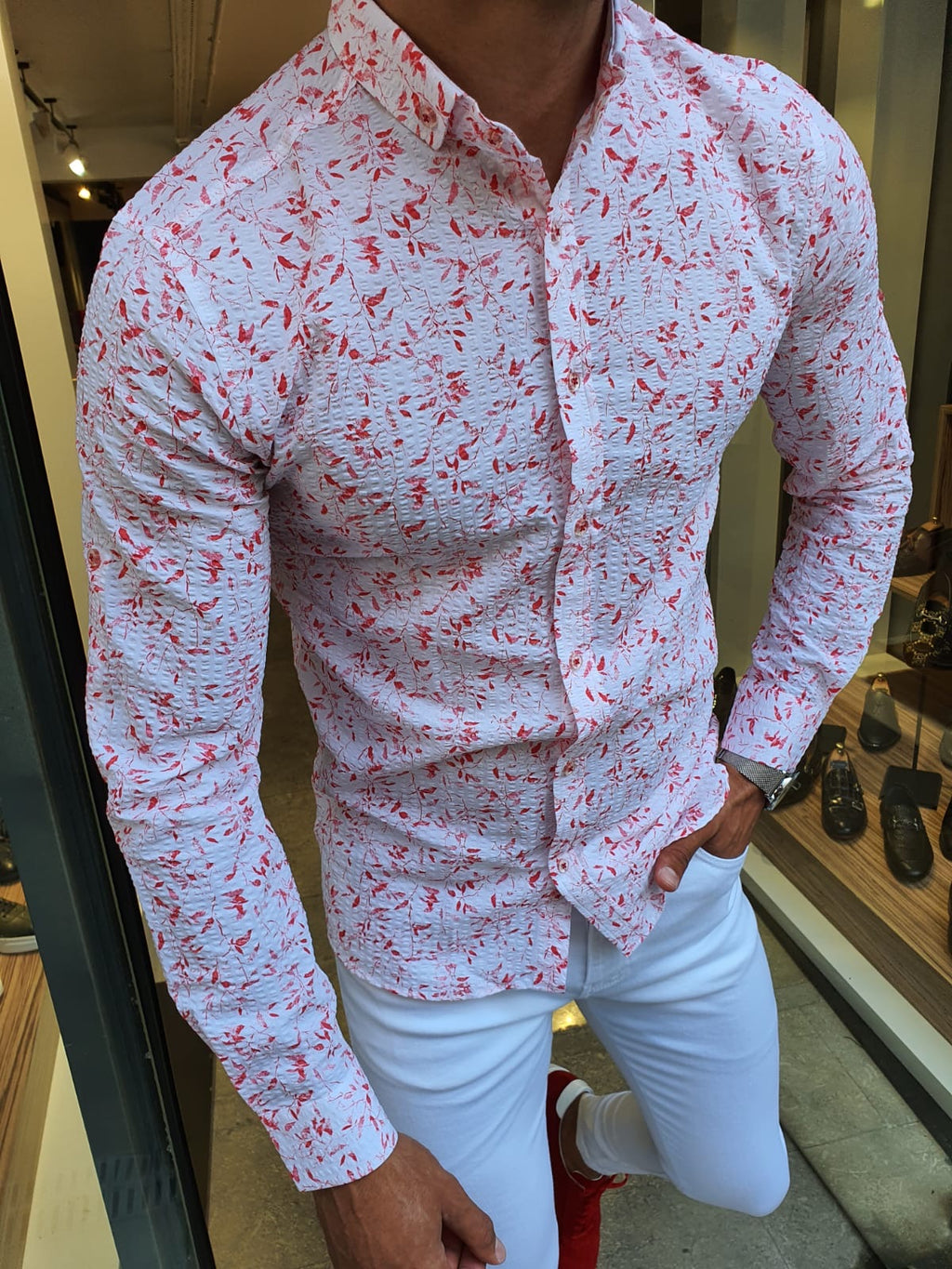 Detroit Red Slim Fit Floral Cotton Shirt
