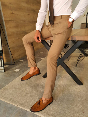 Stefano Camel Slim Fit Pants