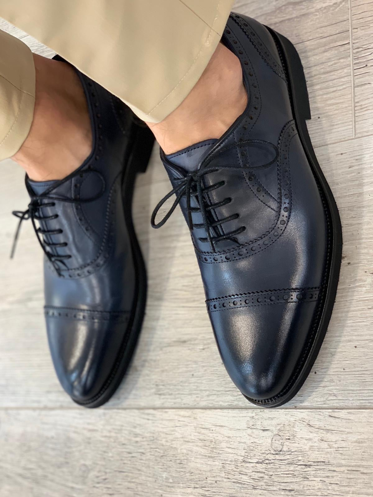 Ade Blue Lace Up Cap Toe Oxfords