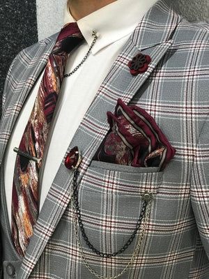 Florian Gray Plaid Slim-Fit Suit