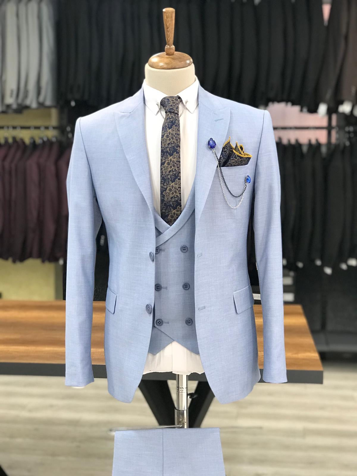 Eros Sky Blue Slim Fit Wool Suit